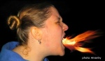 fire breathing woman